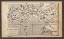 CARTE PLAN 1931 GRANVILLE - AVANT PORT JETÉE PHARE BASSIN à FLOT HÉREL HOULE VILLE HAUTE CASINO LE ROQ - Topographische Kaarten