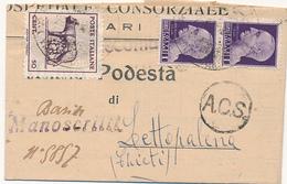 1945 LUPA DI BARI  MAN RACCOMANDATI BARI PER LETTOPALENA  0,50 LUPA + COPPIA 1LT SF - Storia Postale