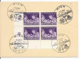 Dt- Reich (002858) Stempelkarte Eckrandviererblock Unten Links MNR 811 Mit FDC Stempel Wien Tag Der Briefmarke 11.1.1942 - Storia Postale