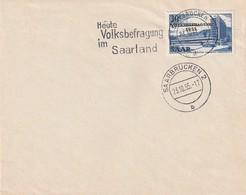 """Saarland / 1955 / Stempel Saarbruecken """"Volksbefragung"""" Auf Blancobrief (AC08) - 1947-56 Allierte Besetzung"""