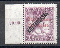 HONGRIE ARAD - YT N° 36 Bdf Signé - Neuf ** - MNH - Cote: 1,80 € - Unused Stamps
