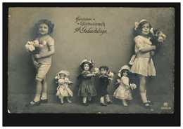Foto-AK Kinder Geburtstag Mädchen Und Puppen Mit Blumen, OLDENBURG 18.7.1912 - Enfants