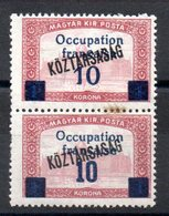 HONGRIE ARAD - YT N° 39 + 39a Se Tenant - Signés - Neufs ** - MNH - RARE - Hongrie (1919)