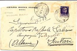 1933 ROMA ALBERGO FLORA DC X SUTARI D'ALBANIA - Marcofilía