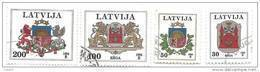 Latvia Logo Riga ,logo Latvia - Lion ,Dragon Used Stamp 1994 Big Face Value - Lettonia