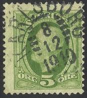 SUEDIA-SVERIGE--KARLSBORG / 8.12.1910-- Oscar 5 öre Green - Oblitérés