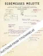 Lettre De REMICOURT 1930 - ECREMEUSES MELOTTE - Fabrication Spécialisée D'écrémeuses Centrifuges - Belgique