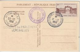 France Oblit Congrès Du Parlement 1953 - Storia Postale