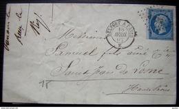 Ounans (Jura) 1862 Belfort à Paris  E Lettre Pour Saint Jean De Losne - Railway Post