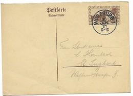 Sarre . Entier Carte Postale Réponse Payée 40c . Réponse Seule 1931. - Covers & Documents