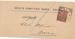 1894 SALO' BRESCIA + SOCIETA' CANOTTIERI GARDA - Storia Postale