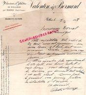 87- BELLEIX PAR BLOND- RARE LETTRE MANUSCRITE SIGNEE VALENTIN & BERNARD- MINOTERIE MEUNIER FARINE- 1908 - Artesanos