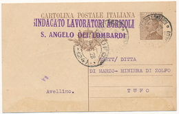 1928 SANT'ANGELO DEI LOMBARDI AVELLINO + SINDACATO LAVORATORI AGRICOLI - 1900-44 Vittorio Emanuele III
