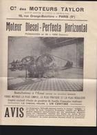 Automobile / Moteurs Taylor / Diésel Perfecta / Dépliant Illustré 4 Pages - Frankrijk