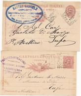 183 SAN SEVERO FOGGIA 2 CARTOLINE POSTALI CON TIMBRI PUBBLICITARI - 1878-00 Umberto I