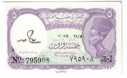 EGYPT5PIASTRESP182UNCSeries 69 - Hamed Sign. - 182J.CV. - Egitto