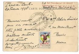 Croiseur LAMOTTE PICQUET CAD 7.3.1938 + Griffe Exp Le Vice Amiral LE BIGOT Commandant En Chef Les F.N.E.O.+ Cac .    .G - Storia Postale