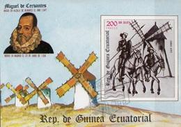 Guinea Equatoriale 1975 Bf. 165B Scrittori Cervantes Don Chisciotte Sancho Panza  Sheet Imperf. CTO - Scrittori