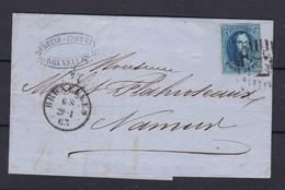 N° 11 Bien Margé Voisins  / Lettre De BXL Vers Namur 29 1 1863 Lac - 1858-1862 Medaillen (9/12)