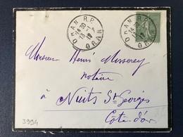 Lettre Algérie Française 1917 Marque Postale Oran RP  Timbre Type Semeuse - Postmark Collection (Covers)