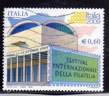ITALIA REPUBBLICA ITALY REPUBLIC 2008 FESTIVAL DELLA FILATELIA 2009 PALAZZO DEI CONGRESSI DI ROMA € 0,60 USATO USED - 6. 1946-.. Repubblica