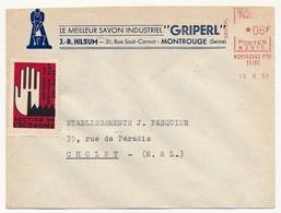 """FRANCE - Env En-tête """"Le Meilleur Savon Industriel GRIPERL (MONTROUGE) 1958 Vignette Salon Arts Ménagers Section Econome - Erinnophilie"""