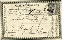 Carte Privée Storch-Sinais N°PRI G12a Girardot Quincaillerie Reims Verso Ligné 6 Fev 1878  Cote 2007  75€ Tarif 15c - Entiers Postaux