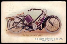 The Two Stroke SCOTT Engineering Shipley Yorkshire. Postal Com Carimbo Da GARAGEM PANHARD PALACE Porto 1910s PORTUGAL - Motos