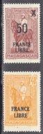 FRANCE LIBRE  1f40 Ocre Y.et.T. Num 246 + 0.50c S 0.90c Brun  Num 258 Neuf      Scan Recto Verso - Madagascar (1889-1960)