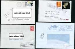 """4 Griffes """"FAUSSE DIRECTION"""" Différentes Sur Lettres - Marcophilie (Lettres)"""