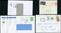 """4 Griffes """"FAUSSE DIRECTION"""" Différentes Sur Lettres Ou Fragments - Marcophilie (Lettres)"""