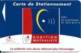 CARTE DE STATIONNEMENT A BANDE MAGNÉTIQUE VILLE DE CAEN 14 CALVADOS  AUDITION MUTUALISTE - Francia