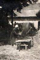 Photo Originale Monde Paysan & Femme Agricultrice Battant Le Blé à La Main Dans Sa Ferme Vers 1940 - Professions
