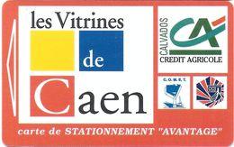 CARTE DE STATIONNEMENT A BANDE MAGNÉTIQUE VILLE DE CAEN 14 CALVADOS LES VITRINES DE CAEN - Francia