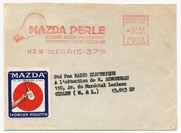 """FRANCE - Env Longue EMA """"MAZDA PERLE éclaire Mieux Sans éblouir"""" PARIS 1959 + Vignette MAZDA - Erinnophilie"""
