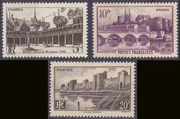 Série De 3 TP Neufs ** N° 499/501(Yvert) France 1941 - Hôtel-Dieu De Beaune, Angers Et Remparts D'Aigues-Mortes - Nuovi
