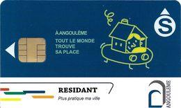 CARTE DE STATIONNEMENT A PUCE CHIP CARD VILLE DE ANGOULÊME CHARENTE 16 RÉSIDENT - Francia