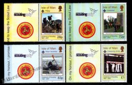 Isle Of Man 2007 Yvert 1374-1377, Organizations. Scouts Centenary. Scouting Logo & Quocunque Jeceris Stabit Tab - MNH - 1952-.... (Elizabeth II)