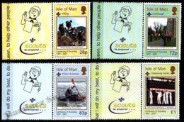 Isle Of Man 2007 Yvert 1374-1377, Organizations. Scouts Centenary. Scouts Be Prepared Tab - MNH - 1952-.... (Elizabeth II)