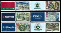 Isle Of Man 2008 Yvert 1456-1461, Numismatics. Money, Banknote History In Man, Bank Logo Tabs - MNH - 1952-.... (Elizabeth II)