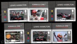 Isle Of Man 2009 Yvert 1522-1527, Famous People. Sports, Cars. Lewis Halmilton, Formula 1 Champion. Border - MNH - 1952-.... (Elizabeth II)