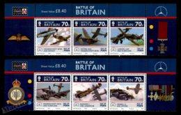 Isle Of Man 2010 Yvert 1630-1635, Airplanes. Battle Britain 70th Anniv, Fighter Aircrafts. Header - MNH - 1952-.... (Elizabeth II)