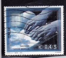 ITALIA REPUBBLICA ITALY REPUBLIC 2004 SISTEMA LETTURA BRAILLE € 0,45 USATO USED OBLITERE' - 2001-10: Usados