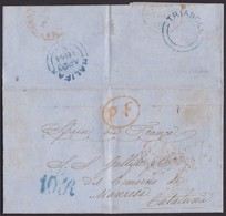 1854. TRIANGLE IN HALIFAX TO MANRESA (BARCELONA). UNFRANKED COVER WITH BLUE CDS. TRANSIT AND RATED 10R. VERY FINE. - 1840-1901 (Victoria)