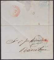 1854. LONDON TO BARCELONA. POSTMARK FRANCIA BOXED BLUE. RATED 2Rs REALES 6MS MARAVEDIS OVER RATED. VERY FINE ENVELOPE. - Gran Bretaña