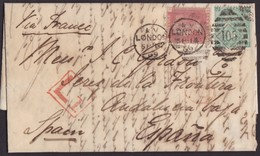 1869. LONDON TO JEREZ DE LA FRONTERA. 1 PENNY AND 1 SHILLING GREEN. POSTMARK NUMERAL 105 FROM LONDON. VERY FINE. - 1840-1901 (Victoria)