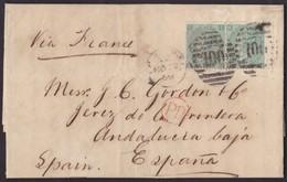 1869. LONDON TO JEREZ DE LA FRONTERA. PAIR 1 SHILLING GREEN. POSTMARK NUMERAL 100 FROM LONDON. VERY FINE. - 1840-1901 (Victoria)