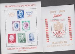 MONACO 2 Blocs Feuillets Neufs N° YT BF80 83  -1998-99 - 50ans Du Régne Du Prince Rainier III - Blocchi