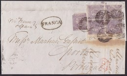 1866. LONDON TO OPORTO. 6 PENCE BLOCK OF 4 AND ONE TIED BY NUMERAL POSTMARK 15 AND POSTMARK FRANCA. EXTRAORDINARY. - 1840-1901 (Victoria)