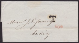 1879. LONDON TO CÁDIZ. UNFRANKED COVER. TAXED BY T IN BLACK AT ARRIVAL. 50 CÉNTIMOS PESETA. VERY FINE AND RARE. - 1840-1901 (Victoria)